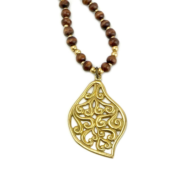 Leaf pendant necklace - gold and brown beaded