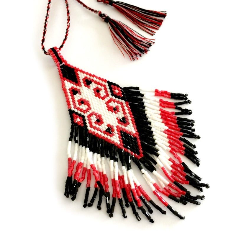 Seed-bead-pendant-necklace-black-red-white-tassels