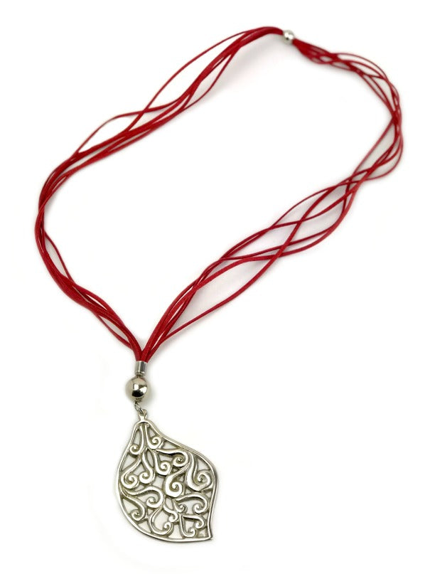 Ladies Pendant necklace - silver leaf - red suede strand