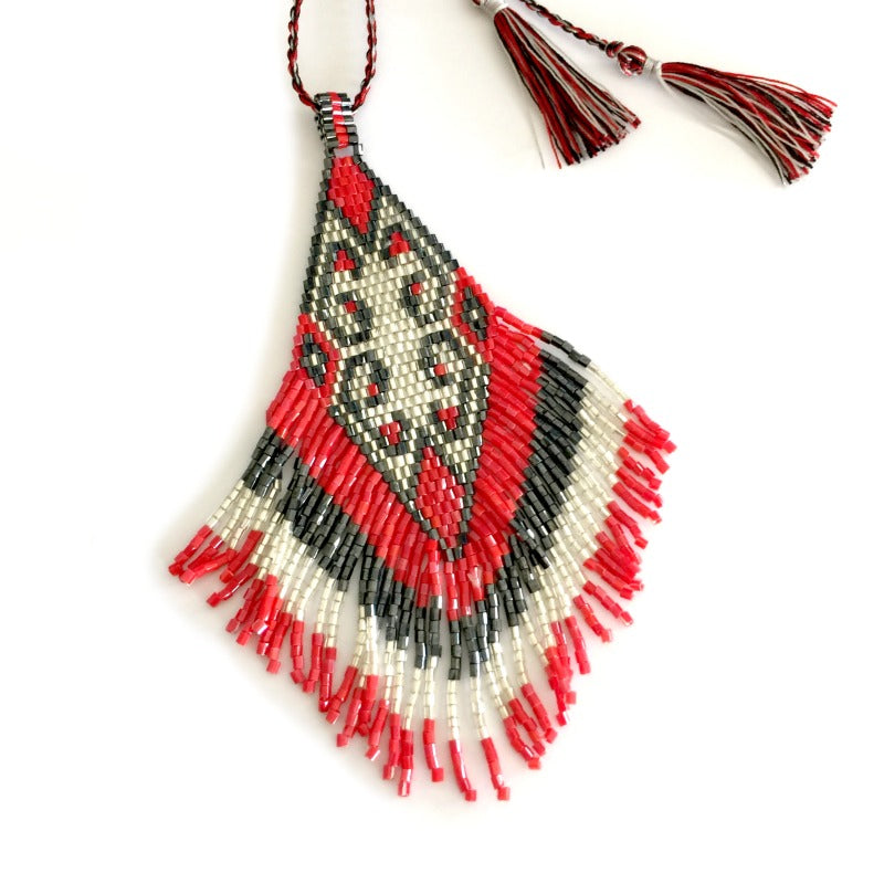 Seed-bead-pendant-necklace-red-grey-white-tassels