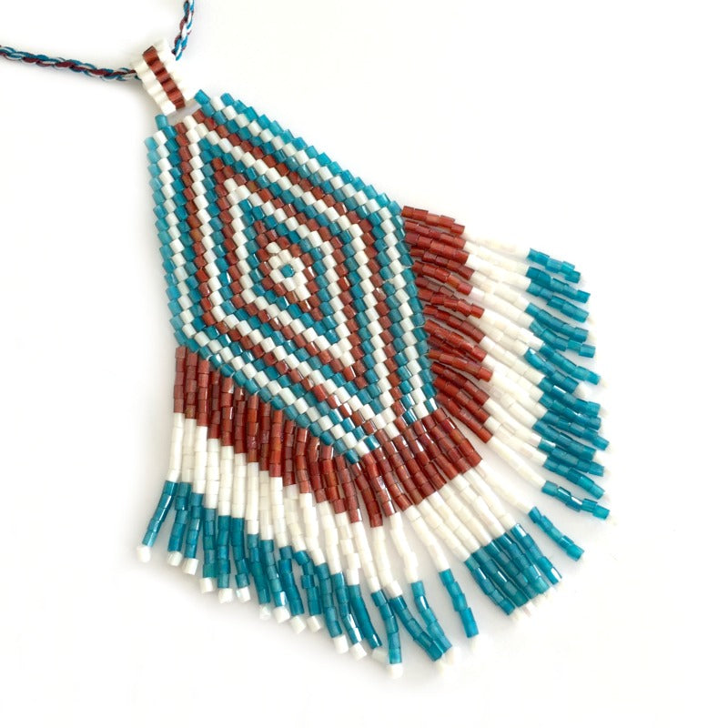 seed bead pendant necklace - white brown blue - tassel