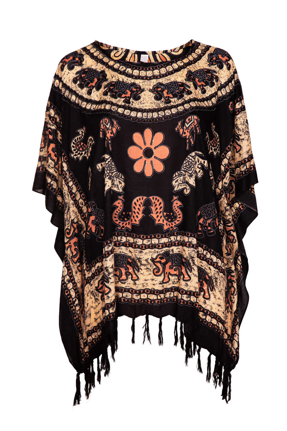plus-size-beach-kaftan-elephant-mandala-black-brown-cream