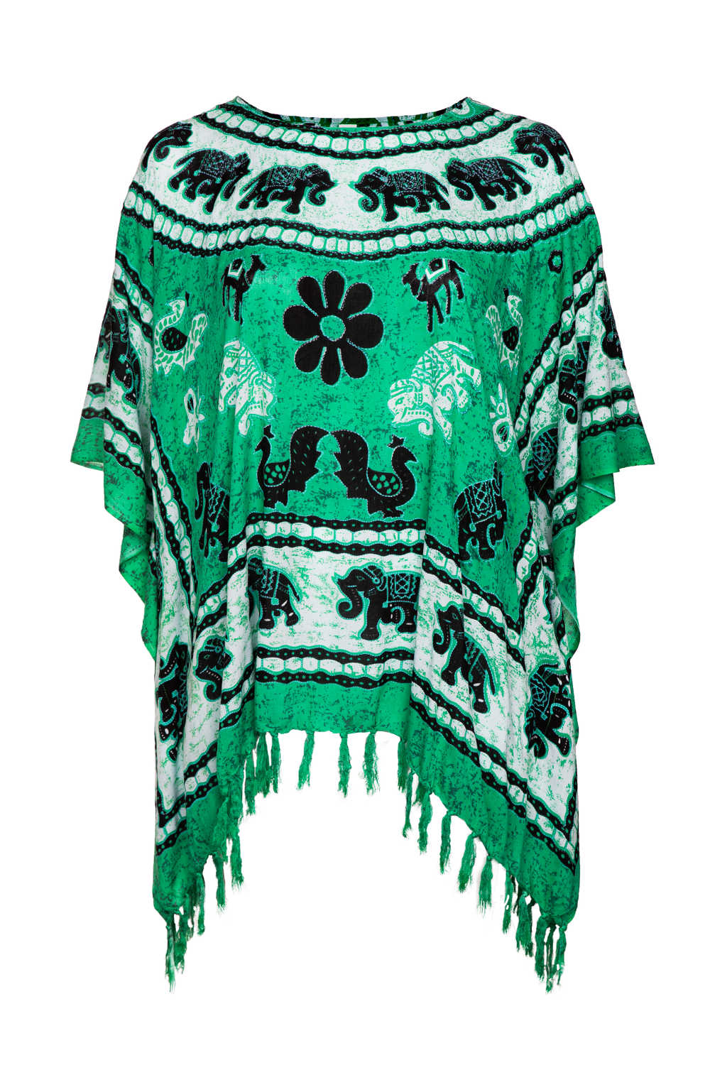 plus-size-beach-kaftan-elephant-mandala-emerald-green-black-white