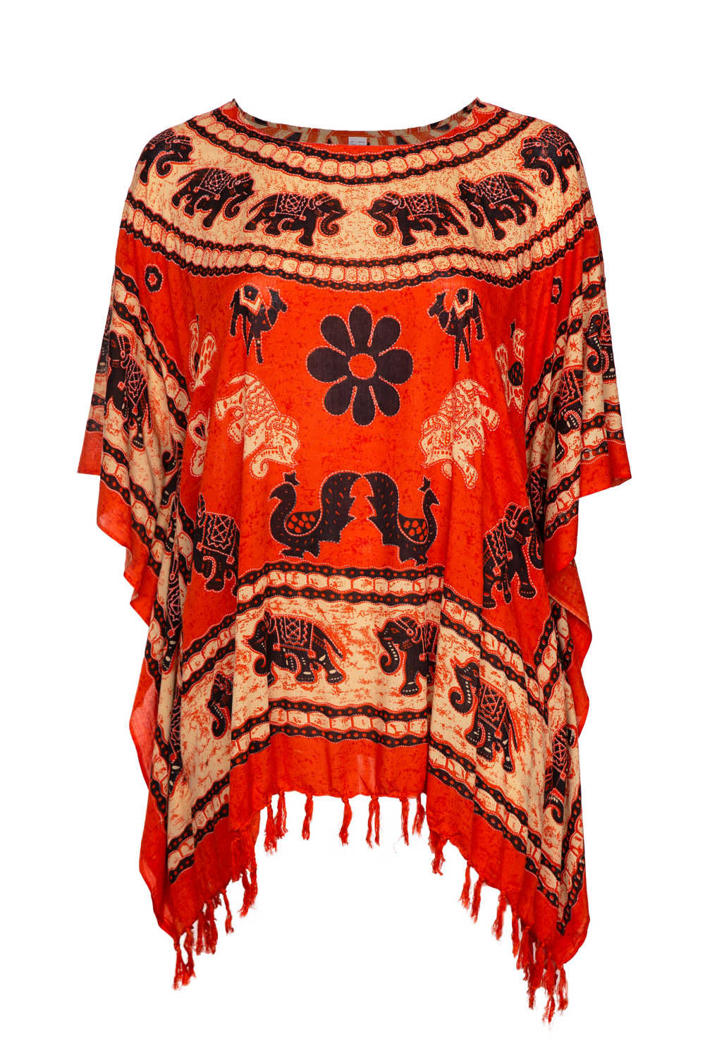 plus-size-beach-kaftan-elephant-mandala-orange-black-cream