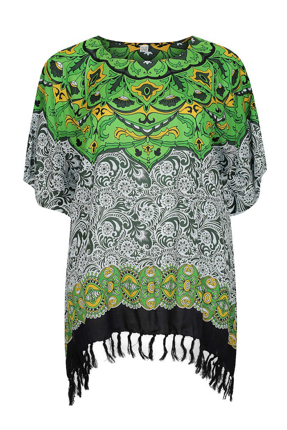 plus-size-kaftan-top-Mandala-design-green-white-black
