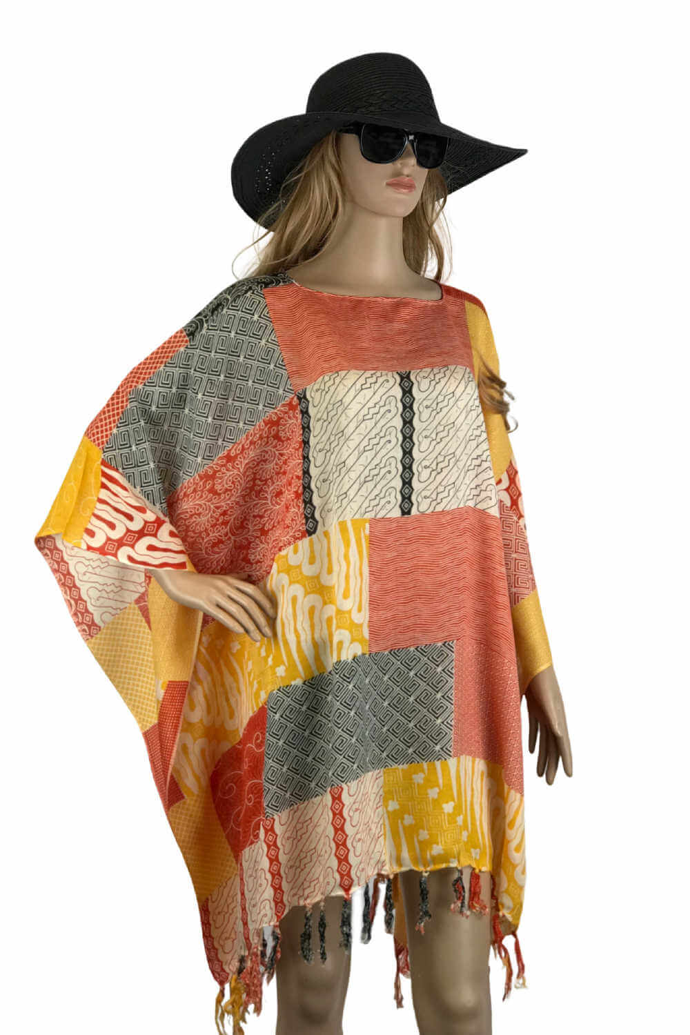 plus-size-kaftan-top-orange-yellow-black-patchwork-design