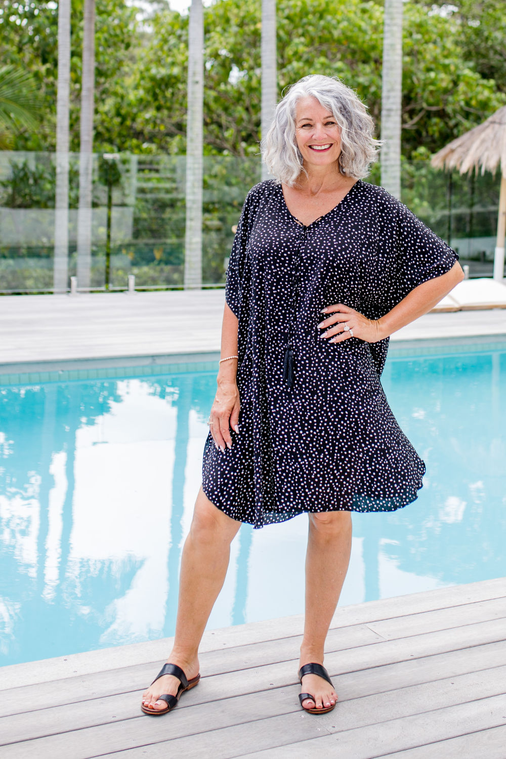 Messy Polka Short Kaftan Dress - Black