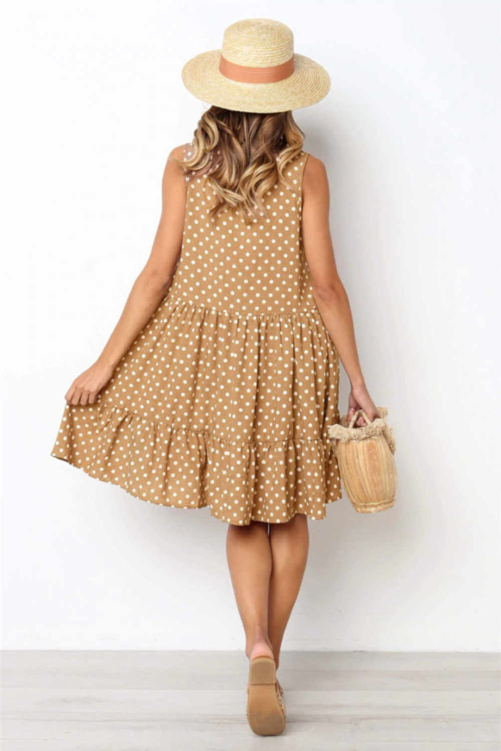 polka-dot-casual-summer-dress-brown-white-ruffle-layers