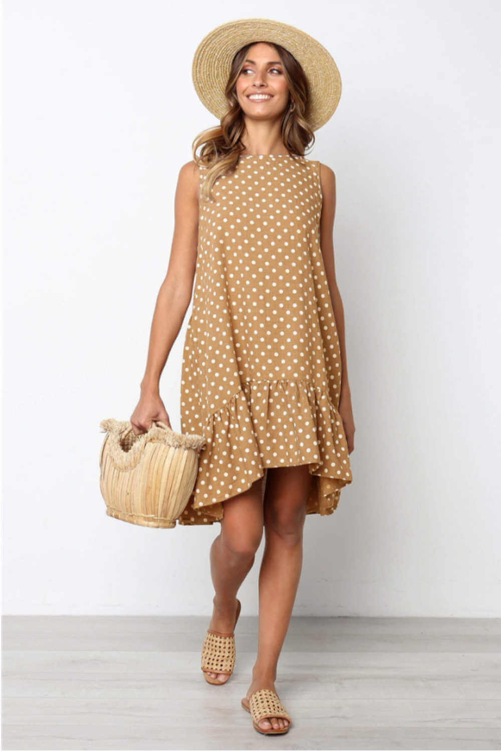 polka-dot-summer-dress-brown-white-ruffle-layers
