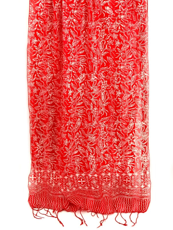 Silk scarf - red and white floral design