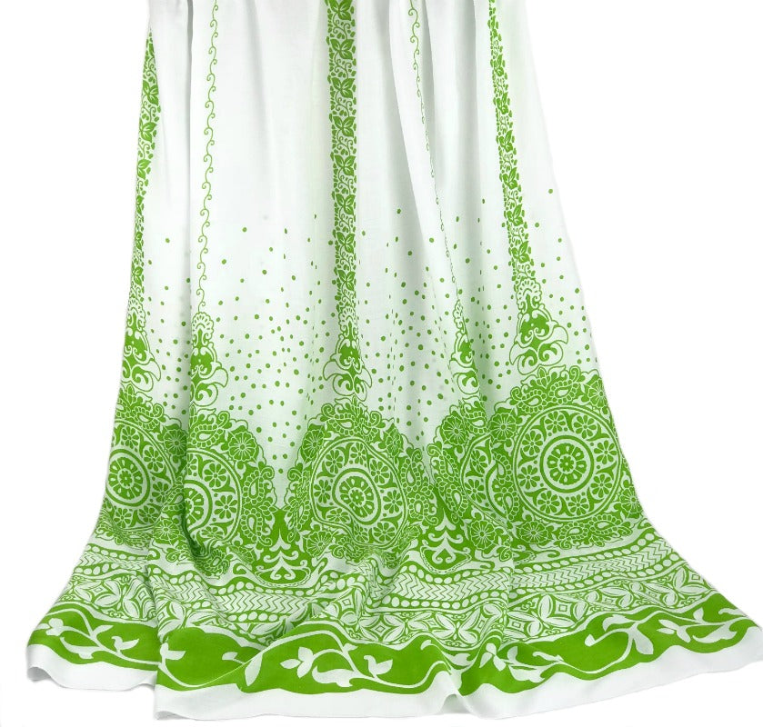 large sarong - lime green floral design