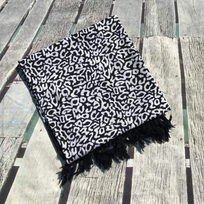 Large Sarong - leopard animal print - black white - Holley Day