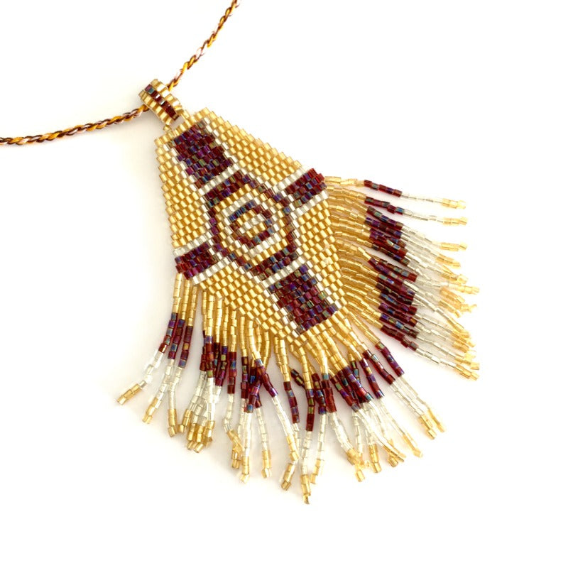 Seed bead pendant necklace - gold silver burgundy - hexagon cross design