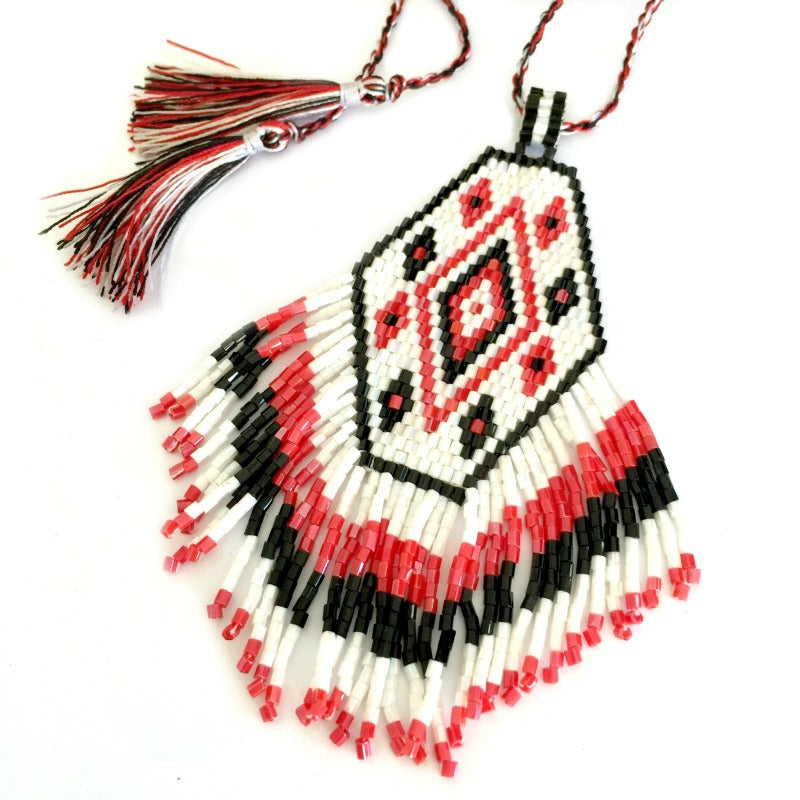 Seed bead pendant necklace - tassel fringe - brown white blue
