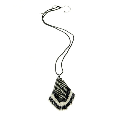 Ladies Seed bead pendant necklace - black and silver with tassel fringe