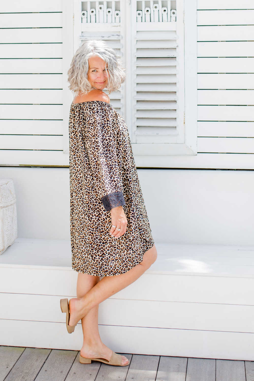 Leopard print short kaftan dress