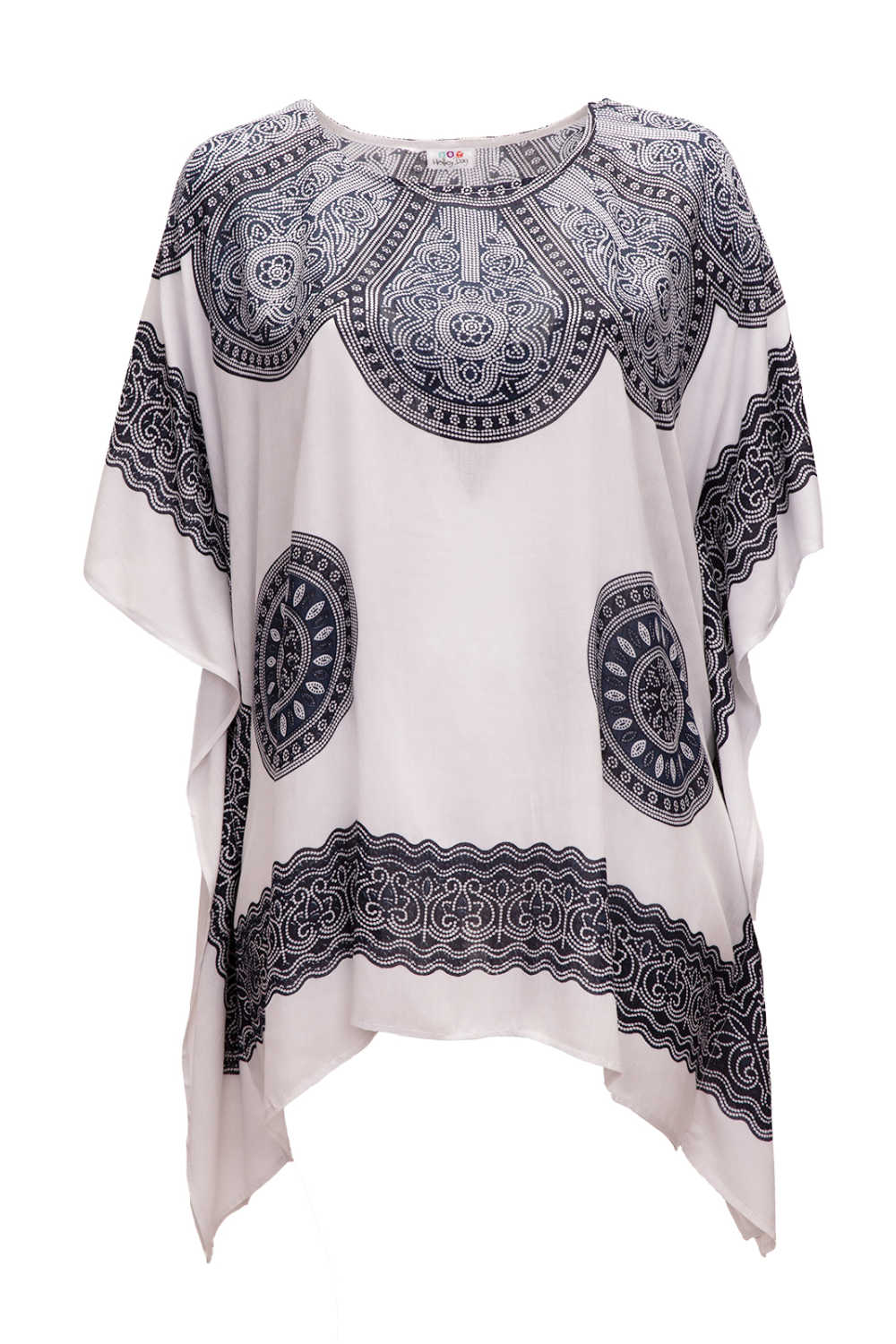 short-kaftan-dress-white-black-Mandala-design