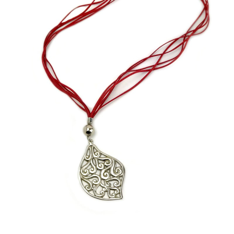 Pendant necklace - silver leaf - red suede strand