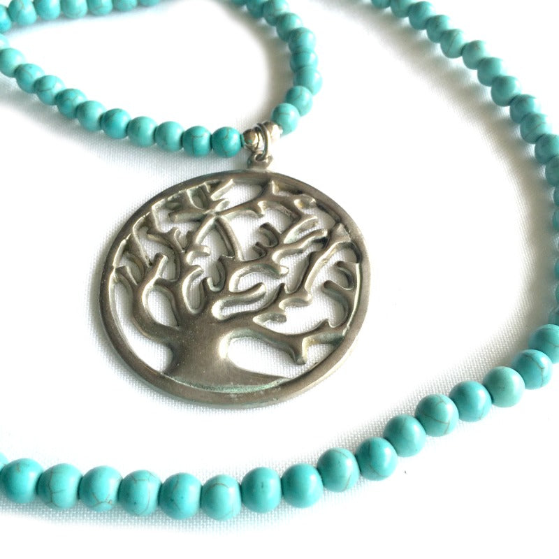 tree-of-life-pendant-necklace-turquoise-beads-silver-pendant