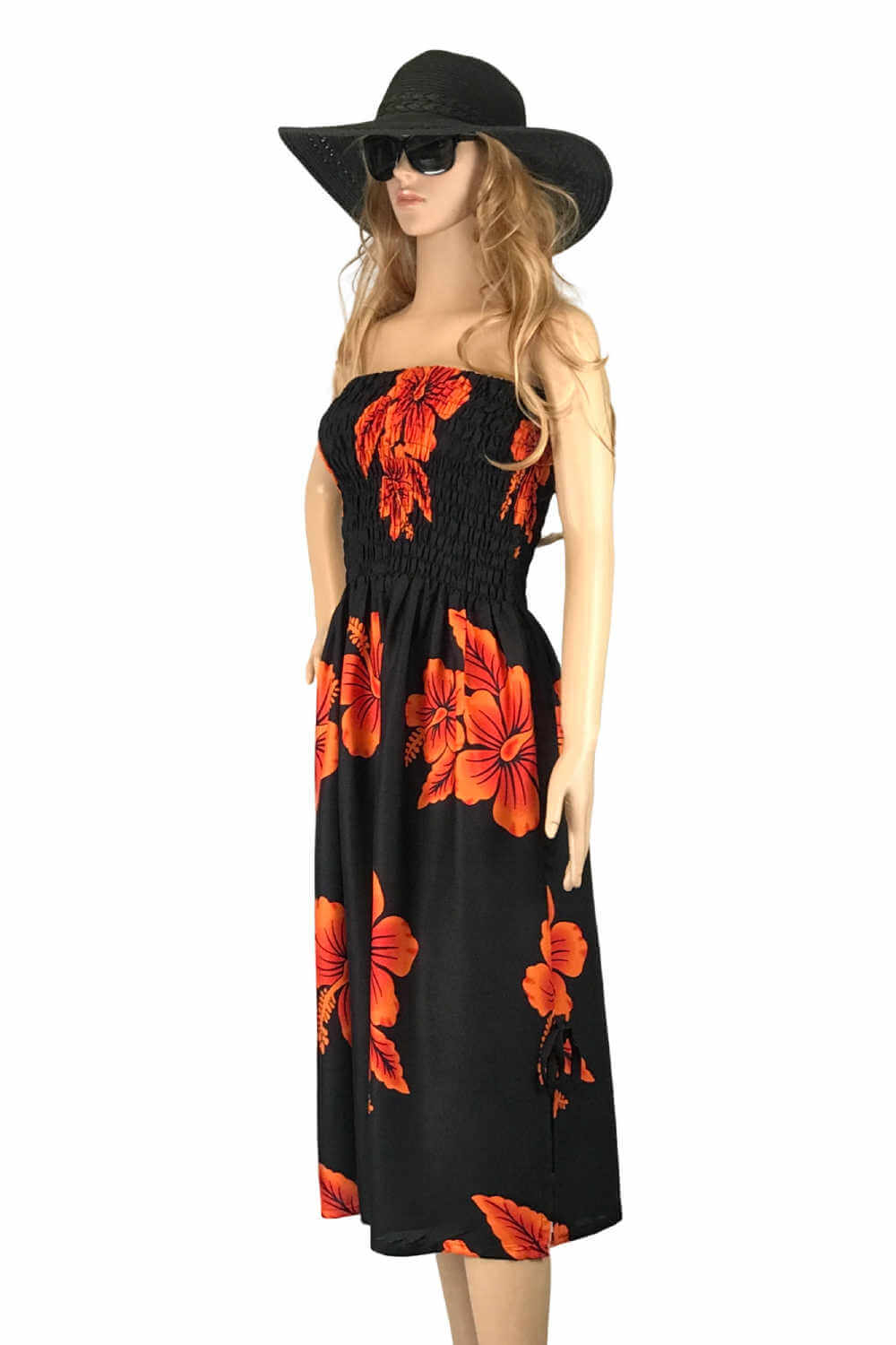 strapless-Boob-tube-Dress-hawaiian-orange-black