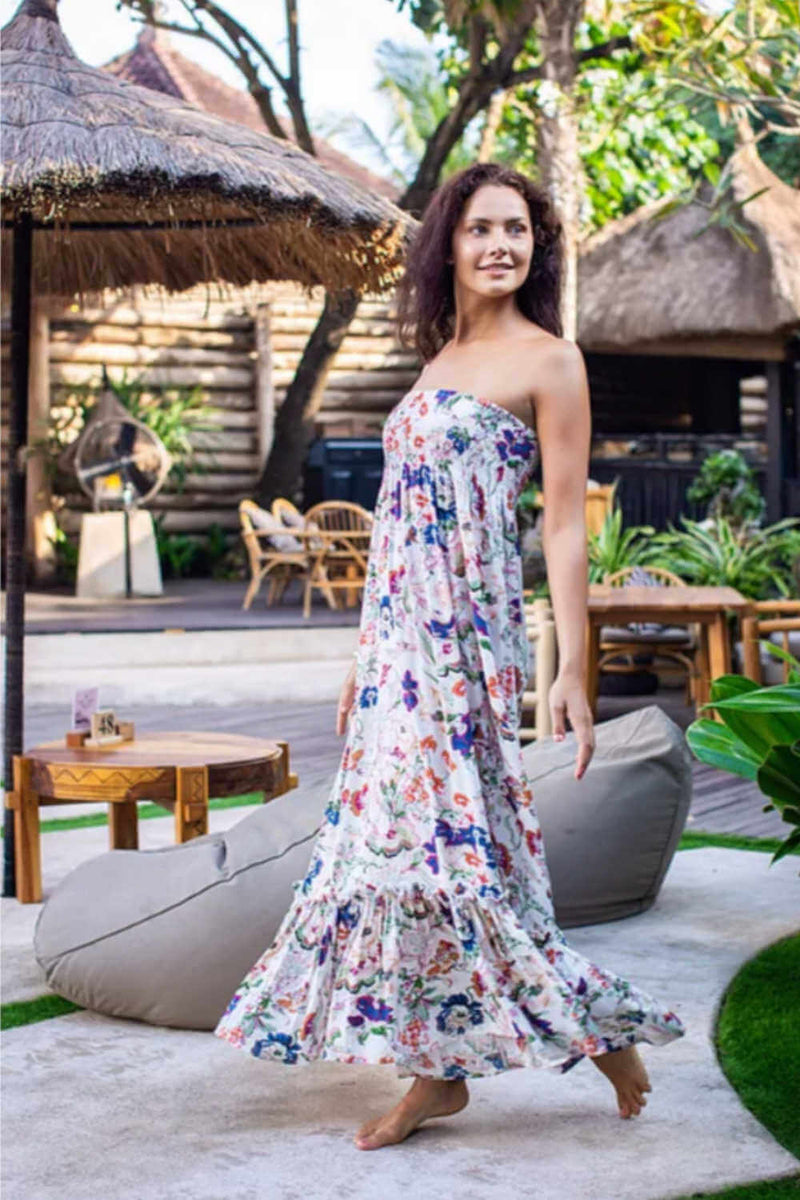 strapless-maxi-dress-floral-design-cream