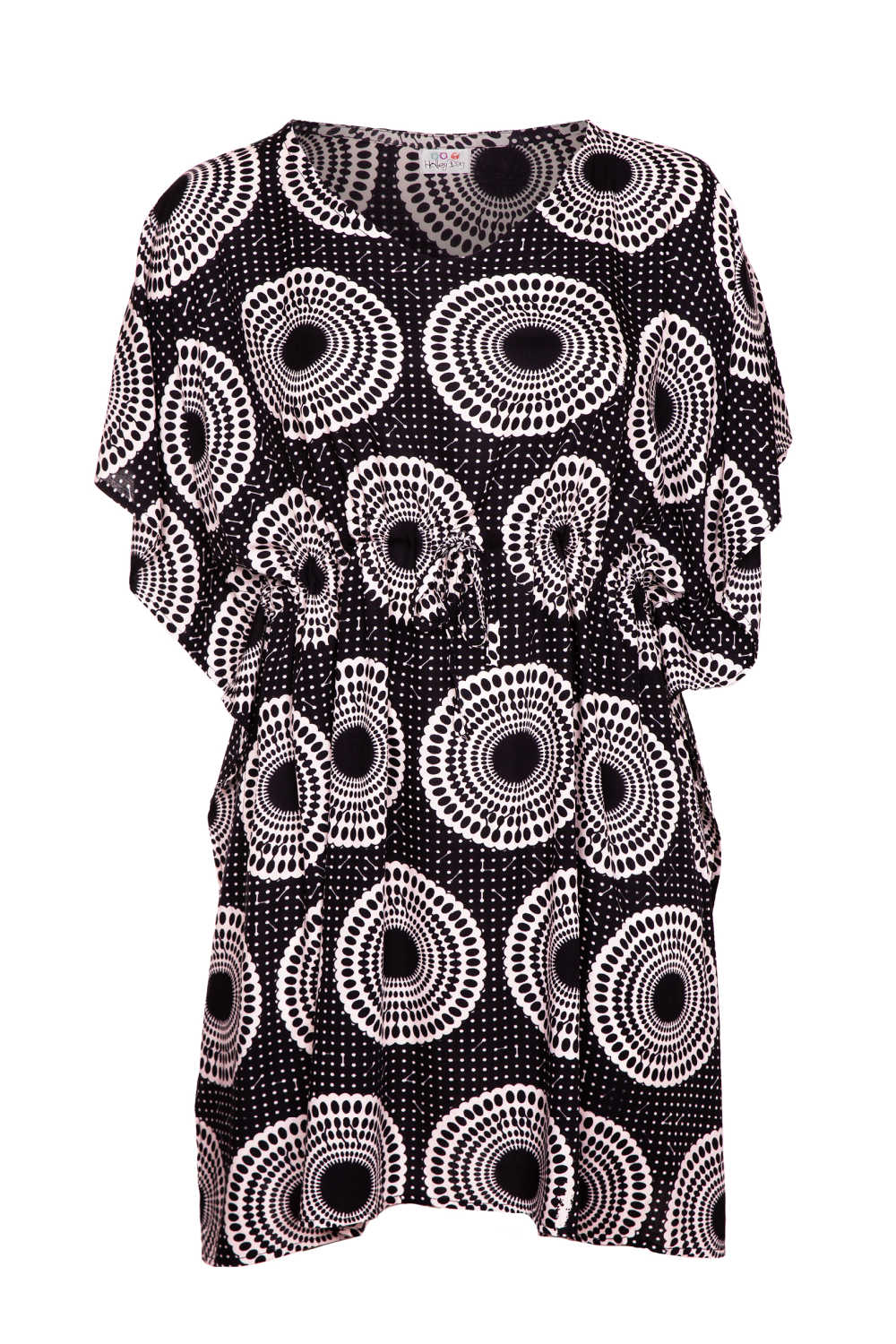 summer-beach-kaftan-dress-black-white-polka-dot