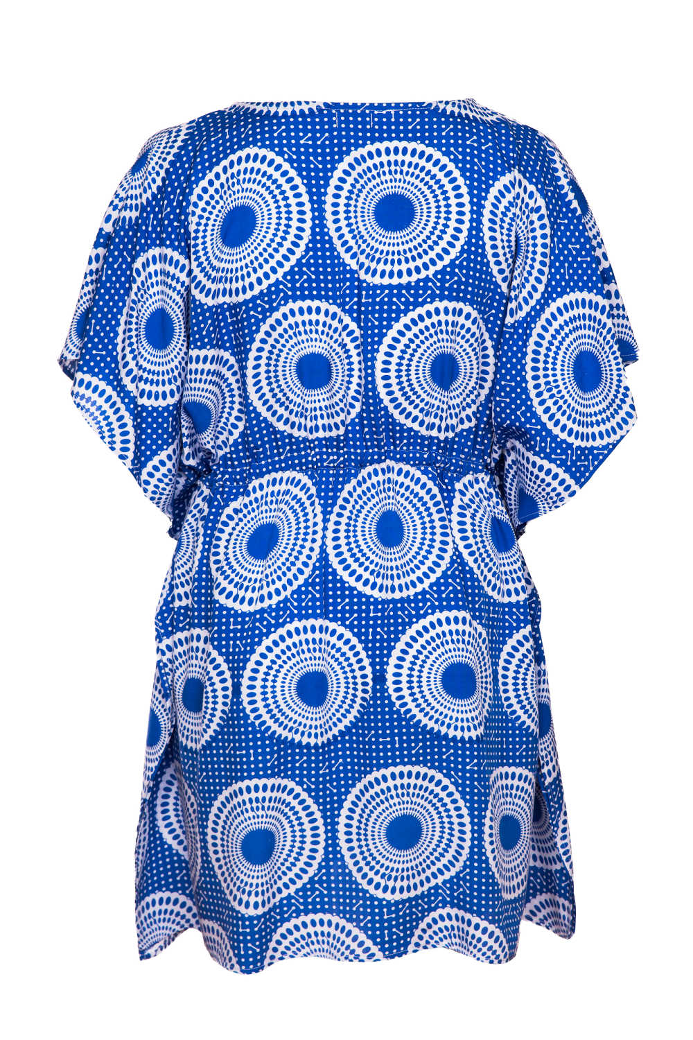 ladies-beach-kaftan-dress-blue-white-polka-dot