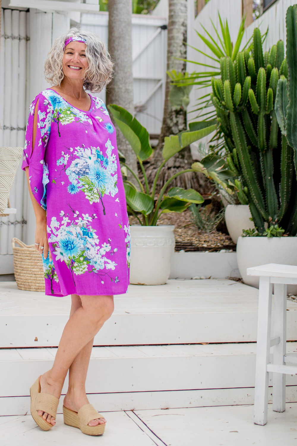 summer-beach-dress-floral-purple-white-blue