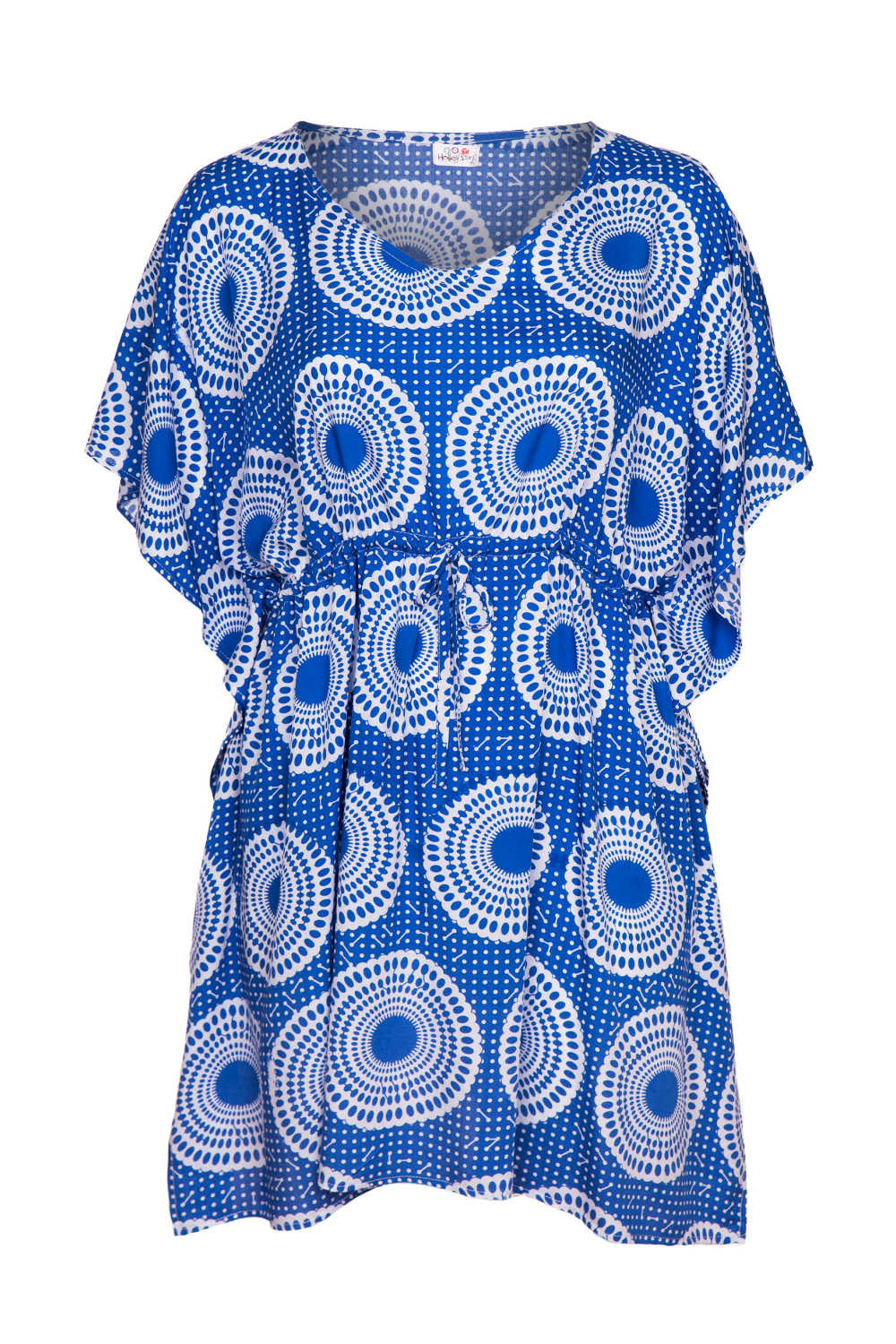 summer-beach-kaftan-dress-blue-white-polka-dot