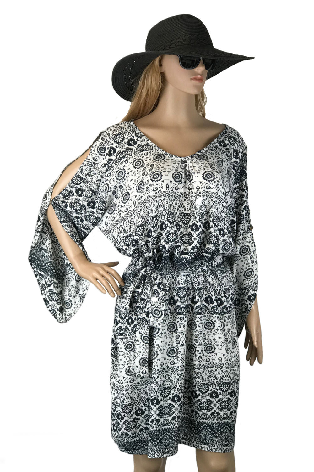 summer-dress-black-white-geometric-floral-design