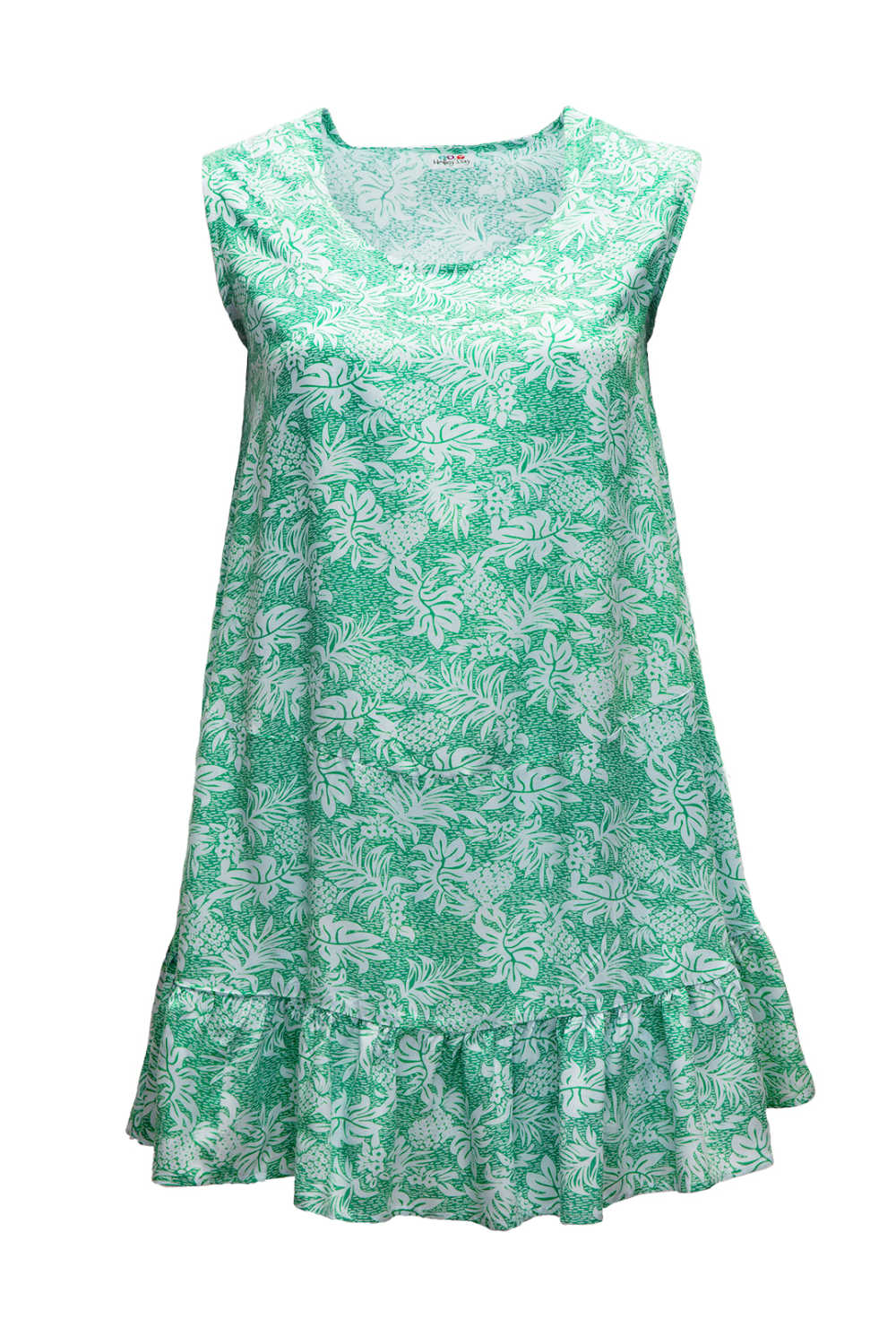summer-dress-white-green-pineapple-print-design