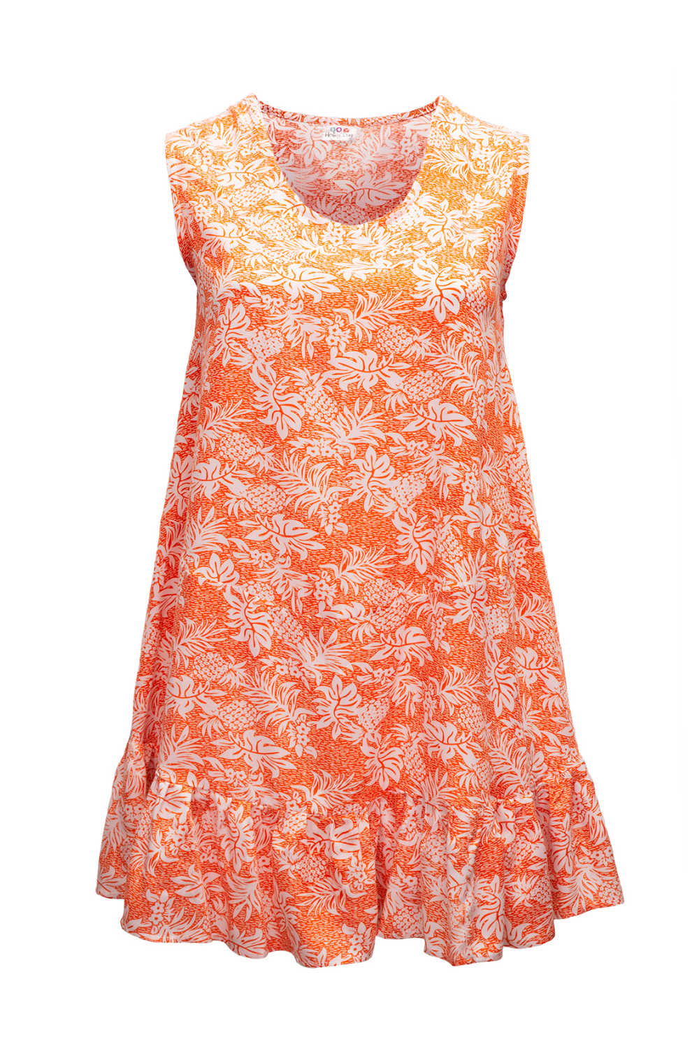 summer-dress-white-orange-pineapple-print-design