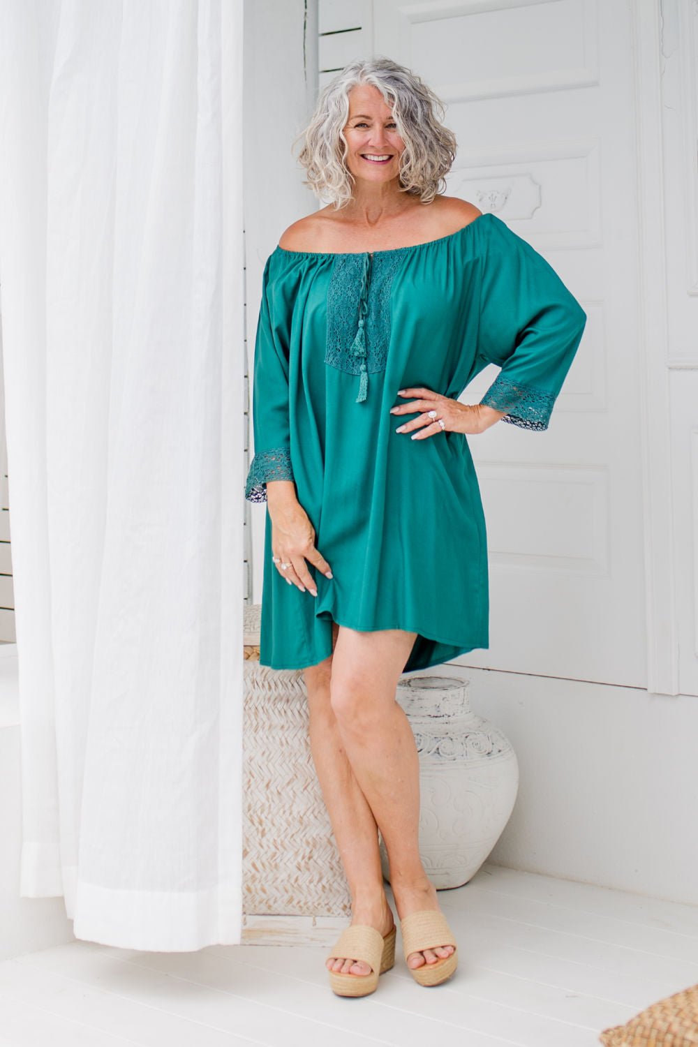 A Little Lace Kaftan in Storm Green