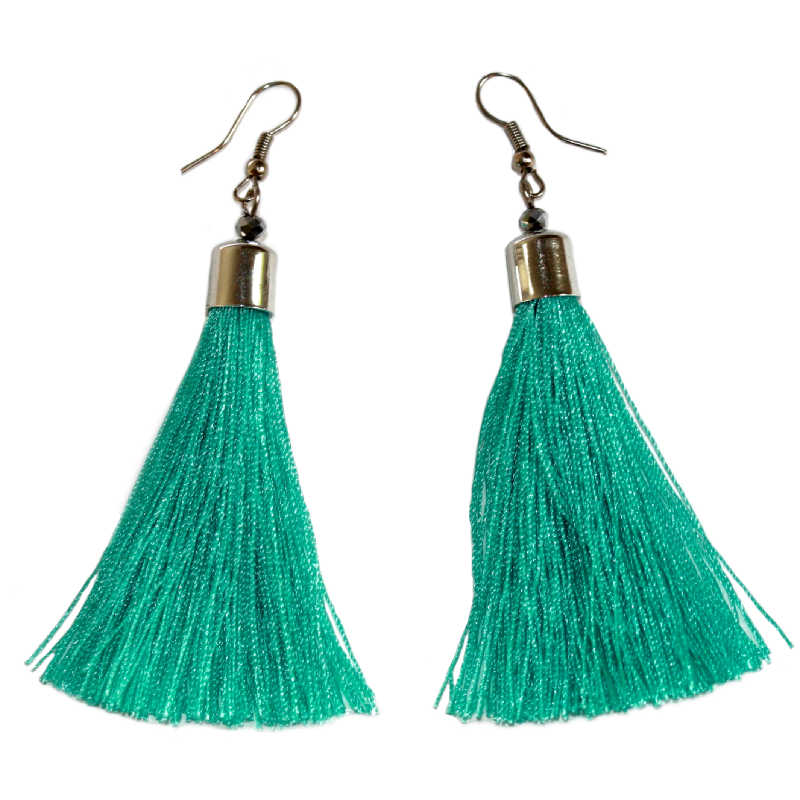 salmon tassel earrings