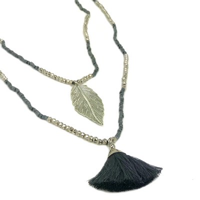 Tassel-necklace-leaf-pendant-grey-silver-beaded