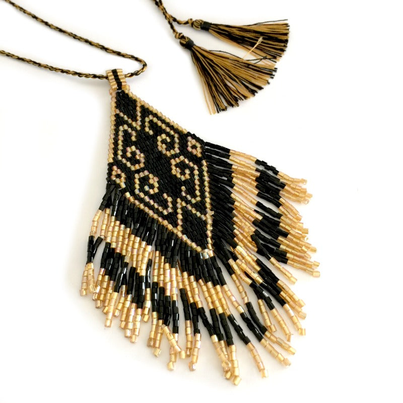 Seed-bead-pendant-necklace-black-gold-tassels