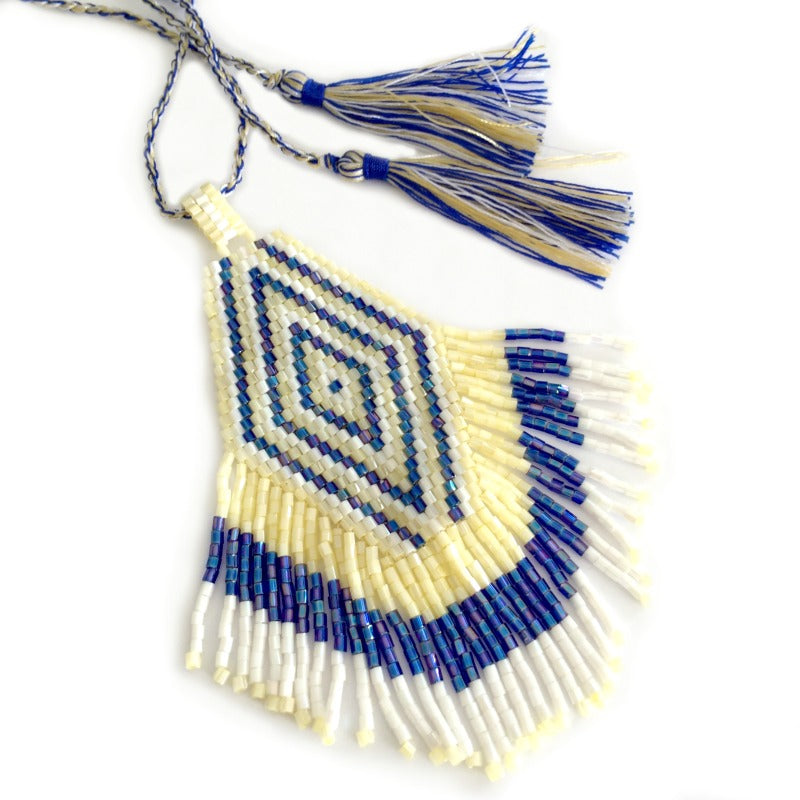 seed bead pendant necklace - blue white cream - tassel