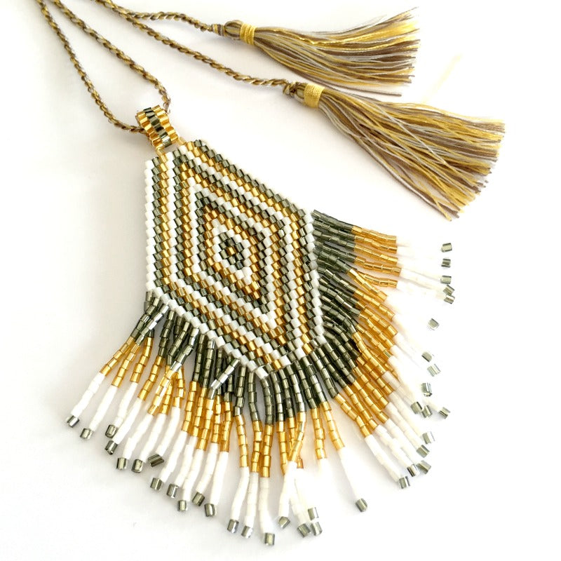 seed bead pendant necklace - gold silver white - tassel
