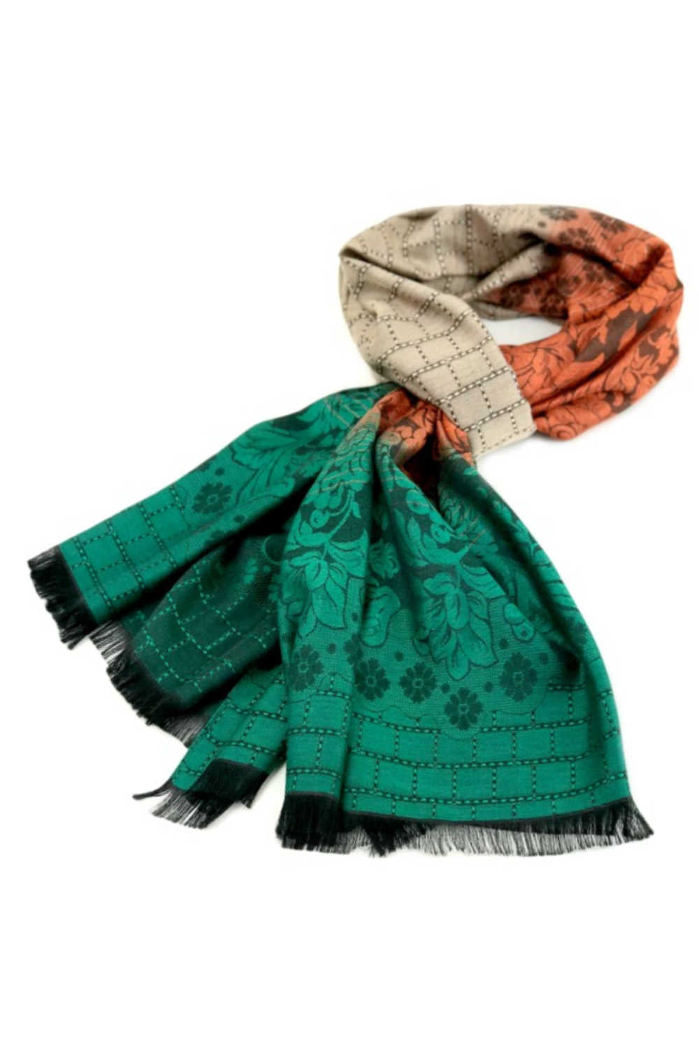 thai-silk-shawl-wrap-floral-emerald-green-copper-orange-latte-brown