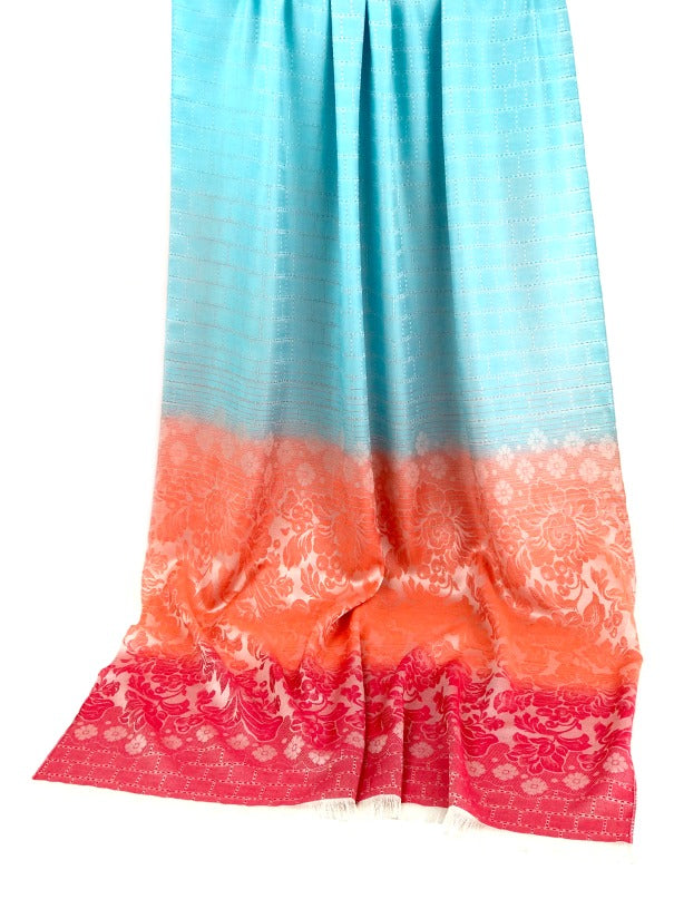 Thai silk scarf - floral design - sky blue peach red