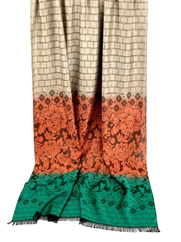 Thai silk scarf - floral design - emerald green orange latte