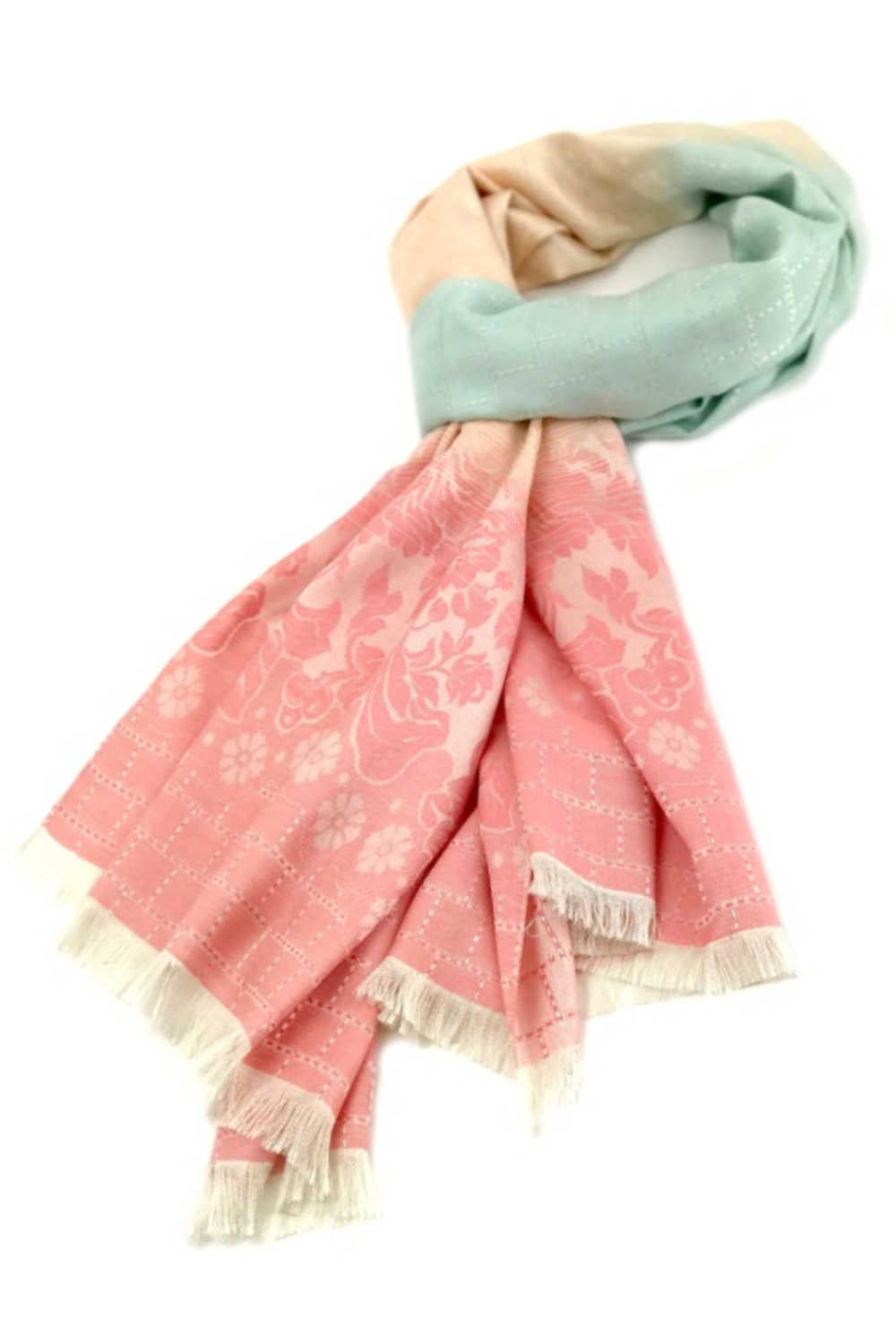 thai-silk-shawl-wrap-floral-peach-mint-cream