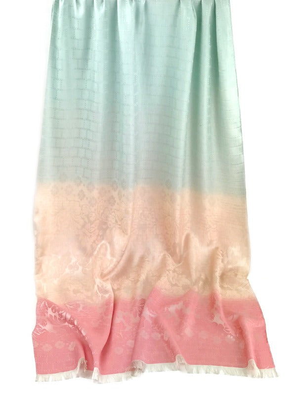 Thai silk scarf - floral design - mint green peach pink