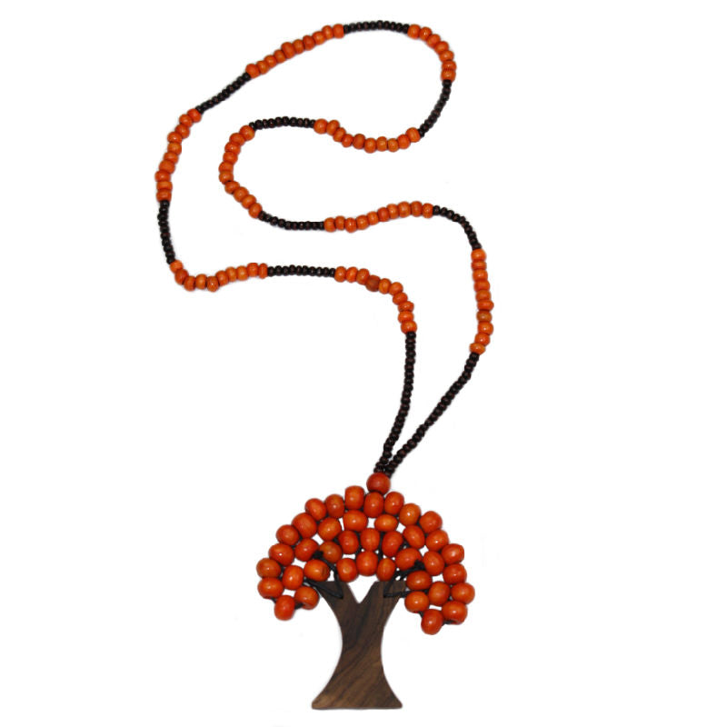 Tree-of-life-pendant-necklace-orange-wood-beads