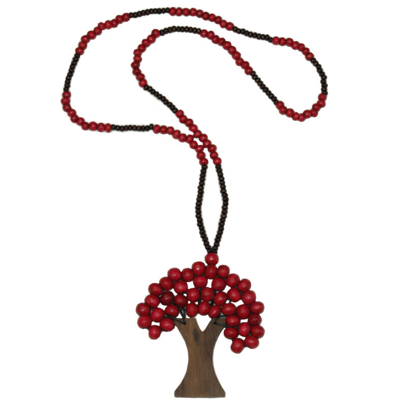 Tree-of-life-pendant-necklace-red-wood-beads