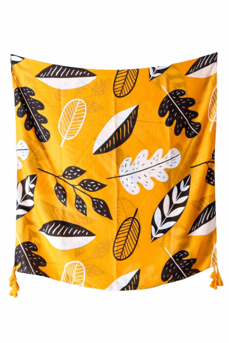 ladies-scarf-black-white-yellow-leaf-design
