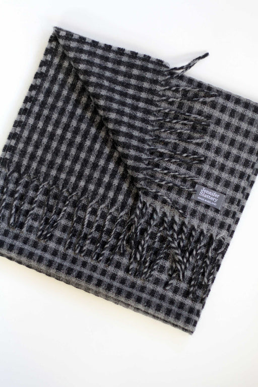 Unisex Mini-Check Scarf, Charcoal