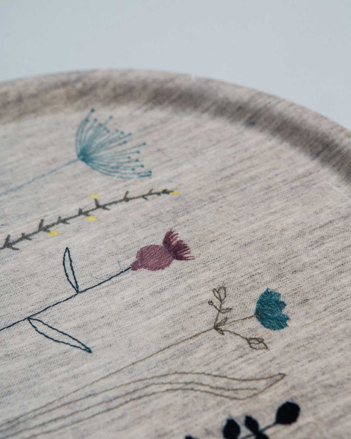 'Irish Wildflower' Embroidered Irish Linen Tray Natural