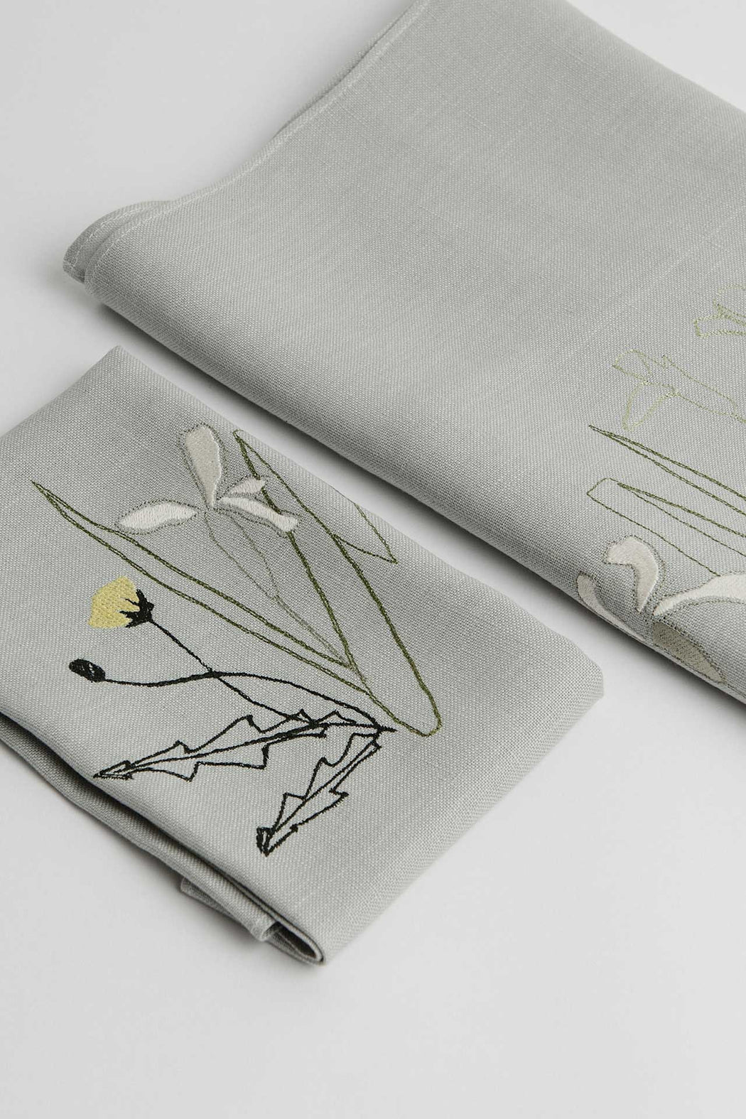 'Herbarium' Embroidered Irish Linen Napkins x 6 - Limited Edition of 100 sets
