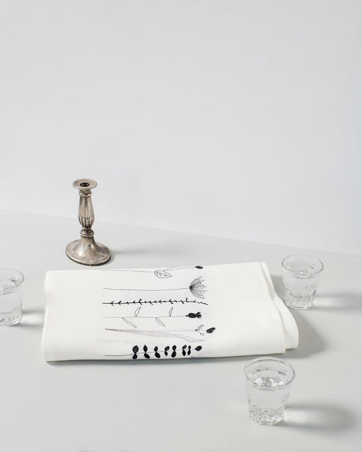 'Irish Wildflower' Irish Linen Table Runner black